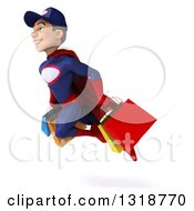 Clipart Of A 3d Young White Male Super Hero Mechanic In Red And Dark Blue Flying And Holding Shopping Bags 2 Royalty Free Illustration