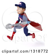 Clipart Of A 3d Young White Male Super Hero Mechanic In Red And Dark Blue Sprinting To The Left And Holding A Giant Vaccine Syringe Royalty Free Illustration