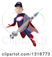 Clipart Of A 3d Young White Male Super Hero Mechanic In Red And Dark Blue Flying Presenting And Holding A Giant Vaccine Syringe Royalty Free Illustration