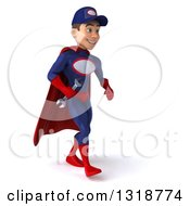 Clipart Of A 3d Young White Male Super Hero Mechanic In Red And Dark Blue Walking To The Right Royalty Free Illustration