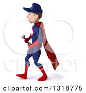 Clipart Of A 3d Young White Male Super Hero Mechanic In Red And Dark Blue Walking To The Left Royalty Free Illustration