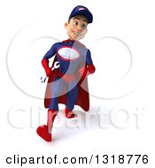Clipart Of A 3d Young White Male Super Hero Mechanic In Red And Dark Blue Walking Royalty Free Illustration
