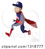 Clipart Of A 3d Young White Male Super Hero Mechanic In Red And Dark Blue Sprinting To The Left Royalty Free Illustration