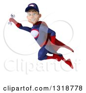 Clipart Of A 3d Young White Male Super Hero Mechanic In Red And Dark Blue Flying Royalty Free Illustration