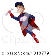 Clipart Of A 3d Young White Male Super Hero Mechanic In Red And Dark Blue Flying 2 Royalty Free Illustration