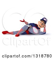 Clipart Of A 3d Young White Male Super Hero Mechanic In Red And Dark Blue Resting On His Side And Presenting Royalty Free Illustration
