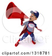 Clipart Of A 3d Young White Male Super Hero Mechanic In Red And Dark Blue Announcing Upwards With A Megaphone Royalty Free Illustration