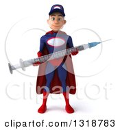 Clipart Of A 3d Young White Male Super Hero Mechanic In Red And Dark Blue Holding A Giant Vaccine Syringe Royalty Free Illustration