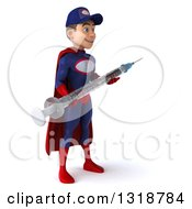 Clipart Of A 3d Young White Male Super Hero Mechanic In Red And Dark Blue Facing Right Holding A Giant Vaccine Syringe Royalty Free Illustration