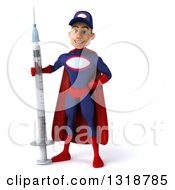 Clipart Of A 3d Young White Male Super Hero Mechanic In Red And Dark Blue Standing With A Giant Vaccine Syringe Royalty Free Illustration