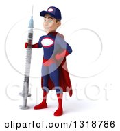 Clipart Of A 3d Young White Male Super Hero Mechanic In Red And Dark Blue Facing Left Standing With A Giant Vaccine Syringe Royalty Free Illustration