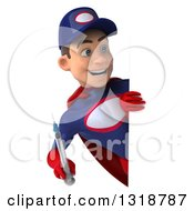 Clipart Of A 3d Young White Male Super Hero Mechanic In Red And Dark Blue Holding A Giant Vaccine Syringe And Looking Around A Sign Royalty Free Illustration