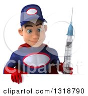 Clipart Of A 3d Young White Male Super Hero Mechanic In Red And Dark Blue Holding A Giant Vaccine Syringe And Looking Down Over A Sign Royalty Free Illustration