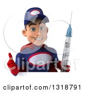 Clipart Of A 3d Young White Male Super Hero Mechanic In Red And Dark Blue Holding A Giant Vaccine Syringe Giving A Thumb Up Over A Sign Royalty Free Illustration
