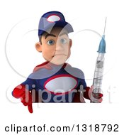 Clipart Of A 3d Young White Male Super Hero Mechanic In Red And Dark Blue Holding A Giant Vaccine Syringe Giving A Thumb Down Over A Sign Royalty Free Illustration