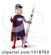 Clipart Of A 3d Young White Male Super Hero Mechanic In Red And Dark Blue Giving A Thumb Up Holding A Giant Vaccine Syringe Royalty Free Illustration