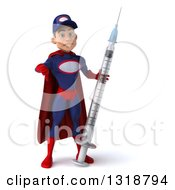 Clipart Of A 3d Young White Male Super Hero Mechanic In Red And Dark Blue Giving A Thumb Down Holding A Giant Vaccine Syringe Royalty Free Illustration