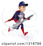 Clipart Of A 3d Young White Male Super Hero Mechanic In Red And Dark Blue Sprinting To The Right And Holding A Giant Vaccine Syringe Royalty Free Illustration