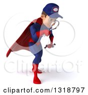 Clipart Of A 3d Young White Male Super Hero Mechanic In Red And Dark Blue Facing Right Looking Down And Searching With A Magnifying Glass Royalty Free Illustration