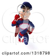 Clipart Of A 3d Young White Male Super Hero Mechanic In Red And Dark Blue Flying And Searching With A Magnifying Glass Royalty Free Illustration