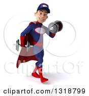 Clipart Of A 3d Young White Male Super Hero Mechanic In Red And Dark Blue Walking To The Right Working Out And Doing Bicep Curls With Dumbbells Royalty Free Illustration