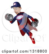 Clipart Of A 3d Young White Male Super Hero Mechanic In Red And Dark Blue Flying Working Out And Doing Bicep Curls With Dumbbells Royalty Free Illustration