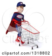 Clipart Of A 3d Young White Male Super Hero Mechanic In Red And Dark Blue Walking To The Right And Pushing A Shopping Cart Royalty Free Illustration