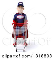 Clipart Of A 3d Young White Male Super Hero Mechanic In Red And Dark Blue Pushing A Shopping Cart Royalty Free Illustration