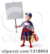 Clipart Of A 3d Young White Male Super Hero Mechanic In Red And Dark Blue Holding Shopping Bags And A Blank Sign Royalty Free Illustration