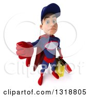 Clipart Of A 3d Young White Male Super Hero Mechanic In Red And Dark Blue Holding Up A Thumb Down And Shopping Bags Royalty Free Illustration