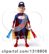 Clipart Of A 3d Young White Male Super Hero Mechanic In Red And Dark Blue Holding Shopping Bags Royalty Free Illustration