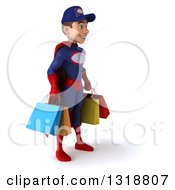 Clipart Of A 3d Young White Male Super Hero Mechanic In Red And Dark Blue Facing Right And Holding Shopping Bags Royalty Free Illustration
