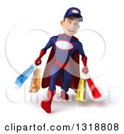 Clipart Of A 3d Young White Male Super Hero Mechanic In Red And Dark Blue Speed Walking And Holding Shopping Bags Royalty Free Illustration