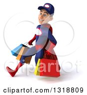 Clipart Of A 3d Young White Male Super Hero Mechanic In Red And Dark Blue Speed Walking To The Left And Holding Shopping Bags Royalty Free Illustration