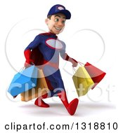 Clipart Of A 3d Young White Male Super Hero Mechanic In Red And Dark Blue Speed Walking To The Right And Holding Shopping Bags Royalty Free Illustration