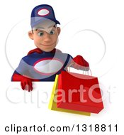 Clipart Of A 3d Young White Male Super Hero Mechanic In Red And Dark Blue Holding Shopping Bags And Looking Down Over A Sign Royalty Free Illustration