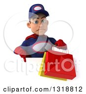 Clipart Of A 3d Young White Male Super Hero Mechanic In Red And Dark Blue Holding Shopping Bags And Giving A Thumb Down Over A Sign Royalty Free Illustration