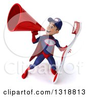 Clipart Of A 3d Young White Male Super Hero Mechanic In Red And Dark Blue Holding A Giant Toothbrush And Announcing With A Megaphone 4 Royalty Free Illustration