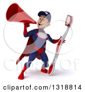 Clipart Of A 3d Young White Male Super Hero Mechanic In Red And Dark Blue Holding A Giant Toothbrush And Announcing With A Megaphone 3 Royalty Free Illustration