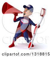 Clipart Of A 3d Young White Male Super Hero Mechanic In Red And Dark Blue Holding A Giant Toothbrush And Announcing With A Megaphone 2 Royalty Free Illustration