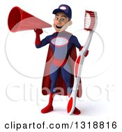 Clipart Of A 3d Young White Male Super Hero Mechanic In Red And Dark Blue Holding A Giant Toothbrush And Announcing With A Megaphone Royalty Free Illustration
