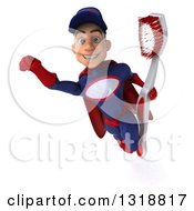 Clipart Of A 3d Young White Male Super Hero Mechanic In Red And Dark Blue Flying And Holding A Giant Toothbrush 2 Royalty Free Illustration