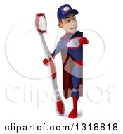 Clipart Of A 3d Full Length Young White Male Super Hero Mechanic In Red And Dark Blue Holding A Giant Toothbrush And Looking Around A Sign Royalty Free Illustration