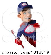 Clipart Of A 3d Young White Male Super Hero Mechanic In Red And Dark Blue Holding A Giant Toothbrush And Looking Around A Sign Royalty Free Illustration