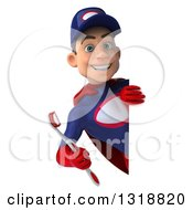 Clipart Of A 3d Young White Male Super Hero Mechanic In Red And Dark Blue Holding A Giant Toothbrush Around A Sign Royalty Free Illustration