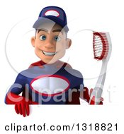 Clipart Of A 3d Young White Male Super Hero Mechanic In Red And Dark Blue Holding A Giant Toothbrush Over A Sign Royalty Free Illustration