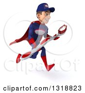Clipart Of A 3d Young White Male Super Hero Mechanic In Red And Dark Blue Sprinting To The Right Holding A Giant Toothbrush Royalty Free Illustration