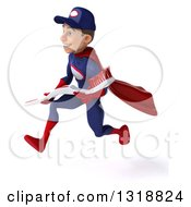 Clipart Of A 3d Young White Male Super Hero Mechanic In Red And Dark Blue Sprinting To The Left Holding A Giant Toothbrush Royalty Free Illustration