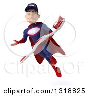 Clipart Of A 3d Young White Male Super Hero Mechanic In Red And Dark Blue Flying Presenting And Holding A Giant Toothbrush Royalty Free Illustration