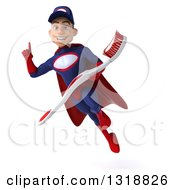 Clipart Of A 3d Young White Male Super Hero Mechanic In Red And Dark Blue Holding Up A Finger Flying And Holding A Giant Toothbrush Royalty Free Illustration